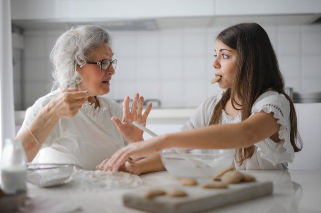 Daughters and Divine Worth, daughter making cookies with grandma